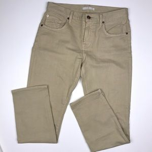 7 For All Mankind Tan Cropped Distressed Jeans.